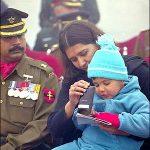 Capt Deepak Guleria's son Dhruv Guleria and his mother Mrs Poonam Guleria at the award ceremony