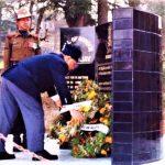 Lt. Nawang's father Harish Kapadia paying respects at the Martyr's Memorial in Almora