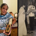 """Chitra Samant receiving """"Vir Chakra"""" award from the president VV Giri in 1972 behalf of his husband Lt Suresh Gajanan Samant."""