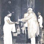 Wife of Subedar Shreedhara Das receiving Vir Chakra award on behalf of him