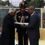 Captain Manoj Kumar Pandey's father receiving PVC Medal