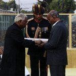 Captain Manoj Kumar Pandey's father receiving PVC Medal