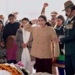 Col. Rai's daughter raises the Regiment war cry at his funeral