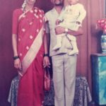 Major Prasad Mahadik in his childhood with his parents