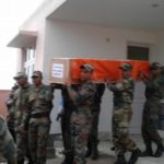 Soldiers carrying the coffin box of Rifleman Jaipal Singh