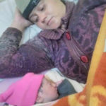 "Lance Naik Ranjeet Singh""s wife with their new born baby"