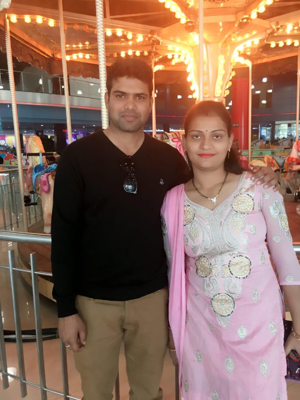 Cpl Pankaj Kumar with his wife Smt Megha