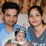 Maj Vikas Singh with his wife and daughter