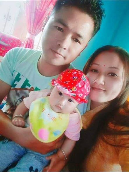 Nk Rajib Thapa with his wife and daughter