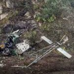 The remains of the ill-fated Helicopter of Lt Col Rajneesh Parmar
