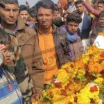 Nk Rameshwar Lal's son paying his last tribute