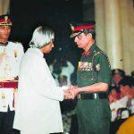His father, Brig. Devendra Singh Atri receiving the Kirti Chakra