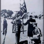 2nd Lt Majumdar receiving colours for his battalion from the Vice President of India