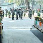 Army personnel paying their tributes to Hav Kuldeep Singh and Rifleman Shubham Sharma