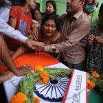 Family members paying tributes to Rfn Shubham Sharma