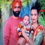 Lance Naik Karnail Singh with his wife and son