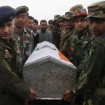 The army personnel paying their tributes to Ptr Shabir Ahmad