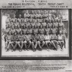"A regimental photograph taken at Meerut's cantonment. Listed as ""Bhajan Singh"" in the photograph, Harbhajan is in the second standing row and third from the left."