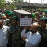 Soldiers pay tribute to Lance Soldiers pay Homage to Lance Naik at Jammu on June 7, 2015.