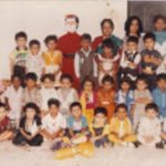 Fg Offr Suraj Pillai celebrating Christmas with his schoolmates in childhood