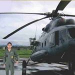 Flt Lt Akash Yadav With his Mi- 17 Helicopter
