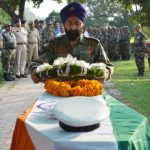 An army soldier pays tributes to LS UC I Kewal Singh in Mumbai