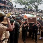 Army personnel carry the coffin of Sepoy Hasansab Khudavand who was killed in a mine
