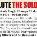 Th Supreme Sacrifice of Maj Akash Singh