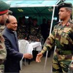 Col Vasant Venugopal, second from right, greets Defence Minister A K Antony
