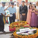 Final Salute to Flt Lt Gagan Oberoi by his wife Flt Lt Nidhi