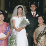 Flt. Lt. Ronald Kevin Serrao with his wife during their wedding