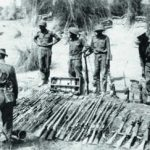 Garhwal Rifles jawans with arms captured from the enemy in Jammu and Kashmir during the 1965 war