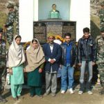Family members at the memorial of Nb Sub Chuni Lal