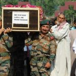 Indian Army personnel during the last journey of Lance Naik Mohammed Naseer