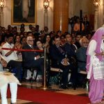 His wife receiving Kirti Chakra award