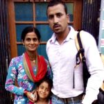 Lance Naik Goswami with his wife and daughter