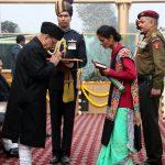 "Lance Naik Goswami's wife Bhawana receiving ""Ashok Chakra ""from the President"