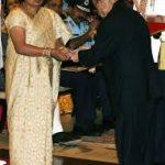 Lt Cdr Manoranjan Kumar's mother receiving Shaurya Chakra