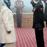 Major Rishima Sharma wife of Maj Mohit Sharma saluting the President, during gallantry award ceremony of Ashok Chakra
