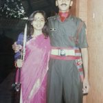 Major P Shyam Sundar with sister Maya Balaji in 1996 at IMA Dehradun during commission.