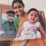 Major Padmapani Acharya's wife with their daughter Aparajita.