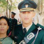 Major Shikhar Thapa with his mother