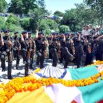 Army personnel pay their last respects to Major Shikhar Thapa