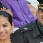 Major Dhruv Yadav and his wife Surbhi.