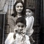 Maj Udai in his younger days with his mother and sister