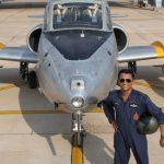 Fg Offr Suraj Pillai standing with his bird