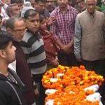 The mortal remains of martyr Maj Sanjeev Lathar in Bhiwani at his his residence