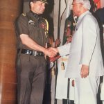 Col Kanwar Jaideep Singh receiving award from the President