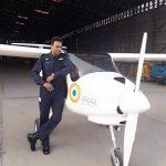 Wg Cdr Jai Paul James with the Micro-light aircraft