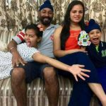 Wing Commander Mandeep Singh Dhillon with his family